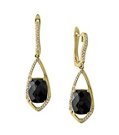Effy® Eclipse Collection Onyx And 0.27 Ct. T.W. Diamond Earrings In 14K Yellow Gold