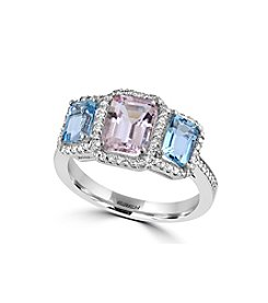 Effy® Blush Collection Morganite And Aquamarine Ring In 14k White Gold