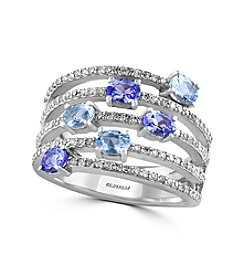 Effy® Aquarius Collection Aquamarine And Tanzanite Ring In 14K White Gold
