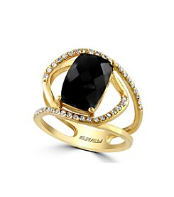 Effy® Eclipse Collection Onyx And 0.20 Ct. T.W. Diamond Ring In 14K Yellow Gold