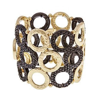 Erica Lyons® Goldtone All That Glitters Wide Cast Rings Stretch Bracelet