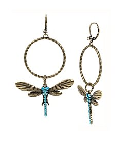Betsey Johnson® Goldtone Pave Dragonfly Hoop Drop Earrings
