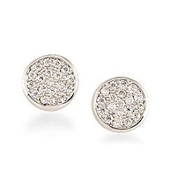 Carolee® Silvertone East Side Pave Stud Pierced Earrings