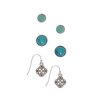 Nine West Vintage America Collection® Silvertone And Turquoise Trio Stud Earrings Set plus size,  plus size fashion plus size appare