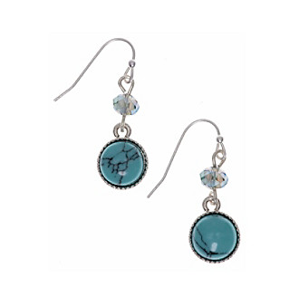 Nine West Vintage America Collection® Silvertone And Turquoise Double Drop Earrings plus size,  plus size fashion plus size appare