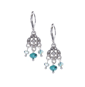 Nine West Vintage America Collection® Silvertone And Turquoise Small Shaky Drop Earrings plus size,  plus size fashion plus size appare