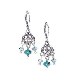 Nine West Vintage America Collection® Silvertone And Turquoise Small Shaky Drop Earrings