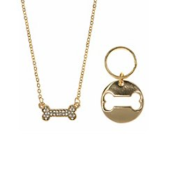 Pet Friends™ Goldtone Bone Pendant Necklace And Charm