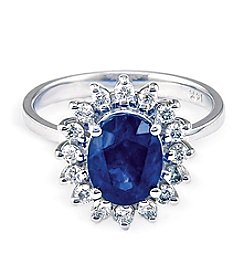 Effy® Royale Bleu Collection Sapphire And 0.39 Ct. T.W. Diamond Ring In 14k White Gold