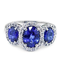 Effy® Royale Bleu Collection Sapphire And 0.31 Ct. T.W. Diamond Ring 14K White Gold