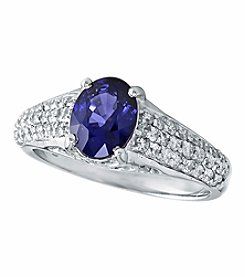 Effy® Royale Bleu Collection Sapphire And 0.52 Ct. T.W. Diamond Ring 14k White Gold