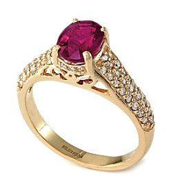 Effy® Ruby Royale Collection Lead Glass Filled  Ruby And 0.40 Ct. T.W. Diamond Ring In 14k Rose Gold