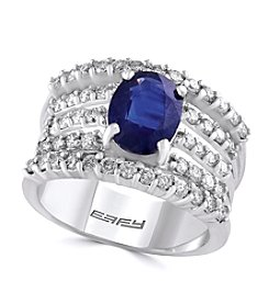 Effy® Sapphire And 0.98 Ct. T.W. Diamond Ring In 14k White Gold