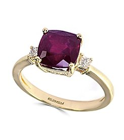 Effy® Lead Glass Filled Ruby And 0.14 Ct. T.W. Diamond Ring In 14k  Yellow Gold