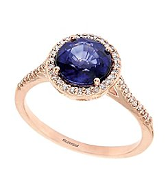 Effy® Sapphire And 0.19 Ct. T.W. Diamond Ring In 14k Rose Gold
