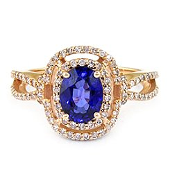 Effy® Sapphire And 0.37 Ct. T.W. Diamond Ring In 14k Rose Gold