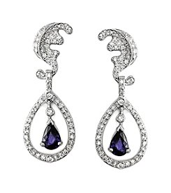 Effy® Royale Bleu Collection Sapphire And 0.53 Ct. T.W. Diamond Earrings In 14k White Gold