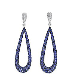 Effy® Sapphire And 0.10 Ct. T.W. Diamond Earrings In 14k White Gold