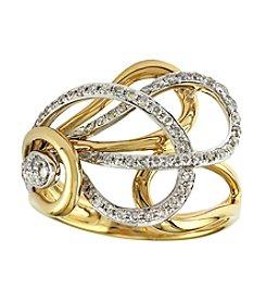 Effy® 0.43 Ct. T.W. Diamond Ring 14K White And Yellow Gold