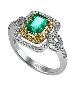 Effy® Brasilica Collection Emerald And 0.24 Ct. T.W. Diamond Ring In 14K White Gold