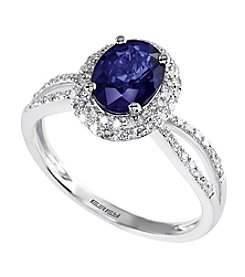 Effy® Royale Bleu Collection Sapphire And 0.26 Ct. T.W. Diamond Ring In 14k White Gold