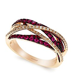 Effy® Amore Collection Ruby And 0.21 Ct. T.W Diamond Ring In 14k Rose Gold