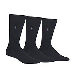 Polo Ralph Lauren® Men's 3-Pack Ribbed Solid Crew Socks
