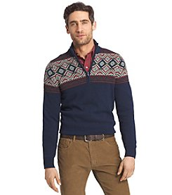 Izod® Men's Long Sleeve Fair Isle 1/4 Zip Pullover