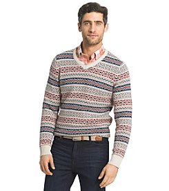 Izod® Men's Long Sleeve Allover Print V-Neck Sweater