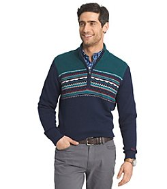 Izod® Men's Long Sleeve Fair Isle Colorblock 1/4 Zip Sweater