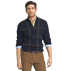 Izod® Men's Long Sleeve Plaid 1/4 Zip Sweater