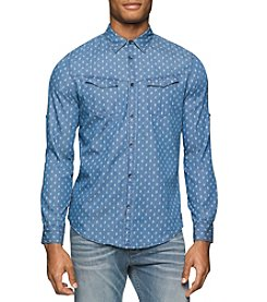 Calvin Klein Jeans® Men's Long Sleeve Invader Print Button Down Shirt
