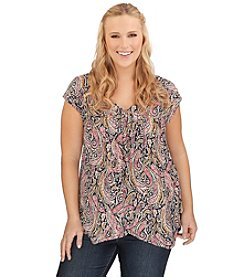 Lucky Brand® Plus Size Multi Paisley Top