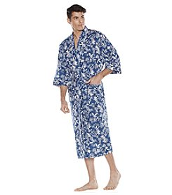 Majestic Men's Big & Tall Hawaiian Print Cotton Kimono Robe
