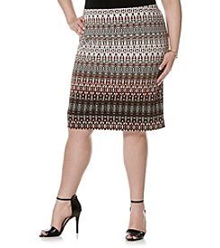 Rafaella® Plus Size Printed Gradient Textured Skirt