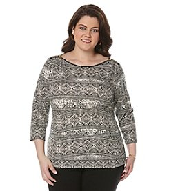 Rafaella® Plus Size Printed Zip Shoulder Top