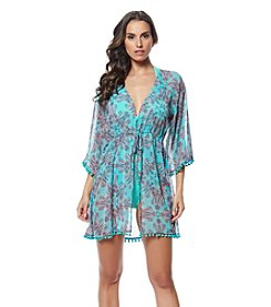 Bleu|Rod Beattie® Paisley Pompom Caftan Cover-Up