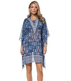 Bleu|Rod Beattie® Tie-Dye Caftan Cover-Up