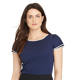 Lauren Ralph Lauren® Plus Size Flutter-Sleeve Cotton Shirt