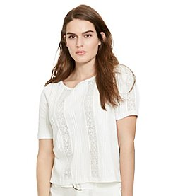 Lauren Ralph Lauren® Plus Size Lace-Trimmed Cotton Shirt