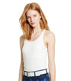 Lauren Ralph Lauren® Petites' Macrame Stretch Cotton Tank