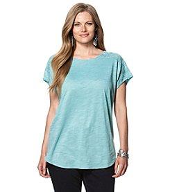 Chaps® Plus Size Lace-Trimmed Jersey Shirt