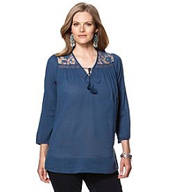 Chaps® Plus Size Lace-Yoke Peasant Top