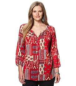 Chaps® Plus Size Patchwork Boho Top