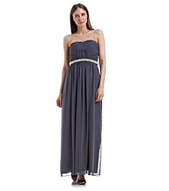Calvin Klein Strapless Long Chiffon Dress