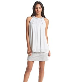 Jessica Howard® Beaded Neckline Popover Dress