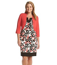 Jessica Howard® Plus Size Split Neck Shift Dress And Jacket