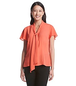 Notations® Petites' Tie Front Flutter Sleeve Top