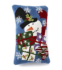 LivingQuarters Snowman With Presents Pillow