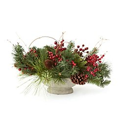 LivingQuarters Greenhouse Collection Berry & Pine Centerpiece